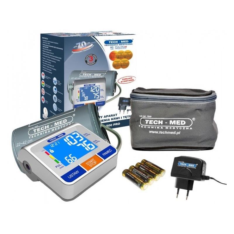 Ciśnieniomierz elektroniczny TECH-MED TMA-500 PRO + zasilacz zestaw